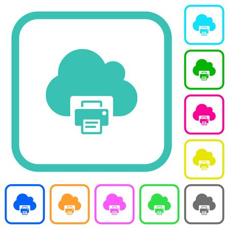 Cloud printing vivid colored flat icons in curved borders on white background