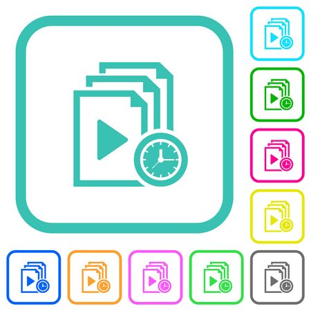 Playlist playing time vivid colored flat icons in curved borders on white background