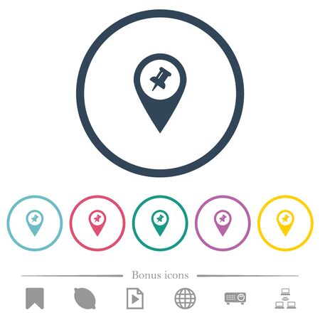 Pin GPS map location flat color icons in round outlines. 6 bonus icons included.