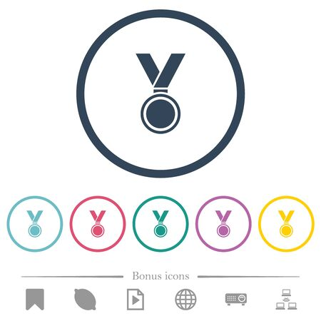 Medal flat color icons in round outlines. 6 bonus icons included. 일러스트