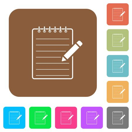 Spiral notepad with pencil flat icons on rounded square vivid color backgrounds.
