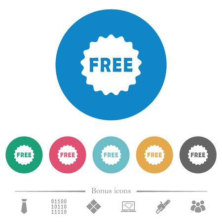 Free sticker flat white icons on round color backgrounds. 6 bonus icons included.