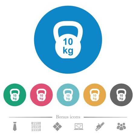 Kettlebel 10 Kg flat white icons on round color backgrounds. 6 bonus icons included.