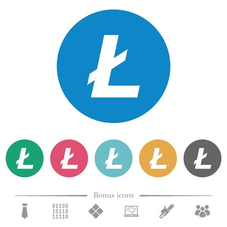 Litecoin digital cryptocurrency flat white icons on round color backgrounds. 6 bonus icons included.