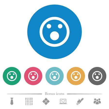Shocked emoticon flat white icons on round color backgrounds. 6 bonus icons included.