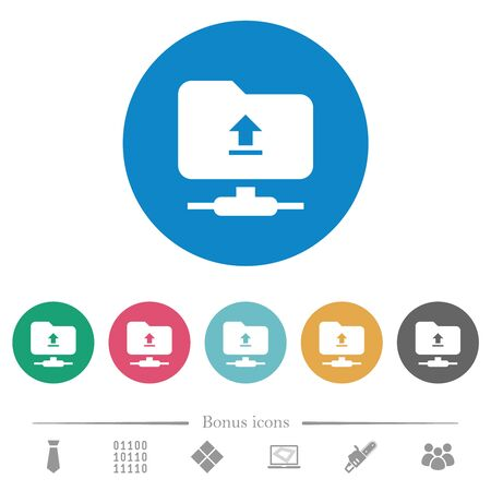 Upload to ftp flat white icons on round color backgrounds. 6 bonus icons included.