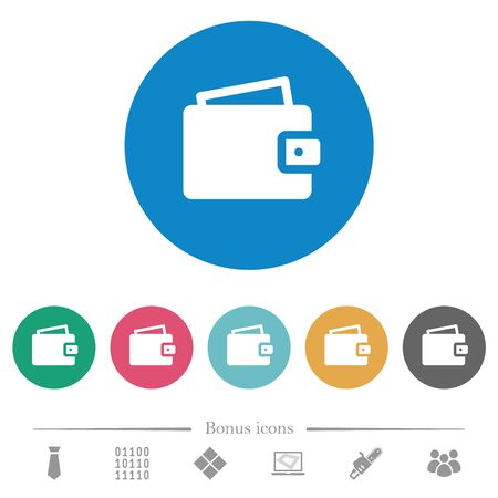 Single wallet flat white icons on round color backgrounds. 6 bonus icons included.