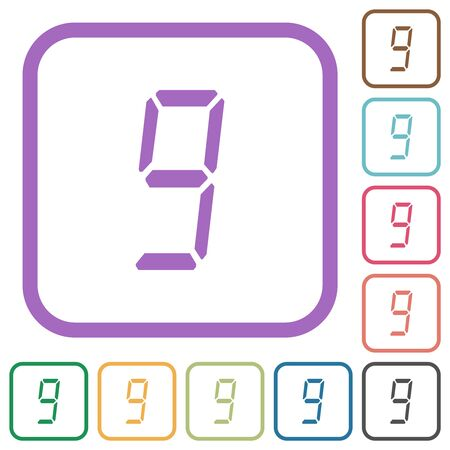 digital number nine of seven segment type simple icons in color rounded square frames on white background