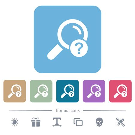 Unknown search white flat icons on color rounded square backgrounds. 6 bonus icons included
