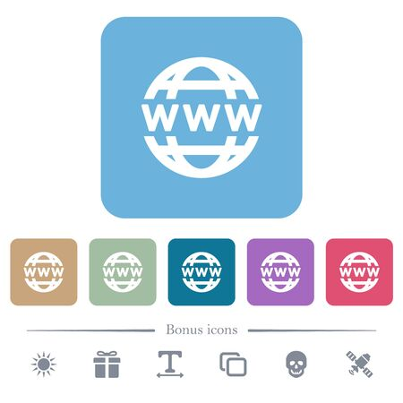 WWW globe white flat icons on color rounded square backgrounds. 6 bonus icons included