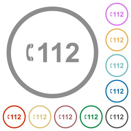 Emergency call 112 flat color icons in round outlines on white background Иллюстрация
