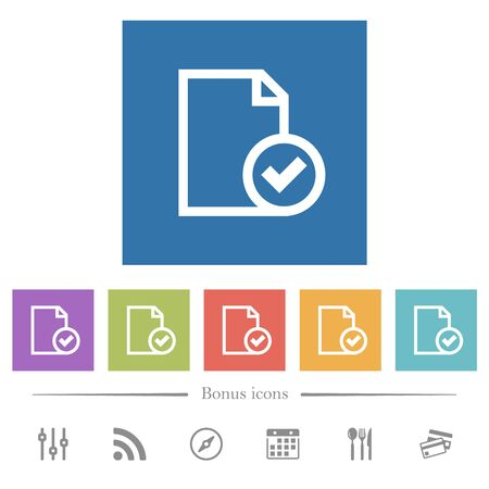 Document accepted flat white icons in square backgrounds. 6 bonus icons included. Ilustrace