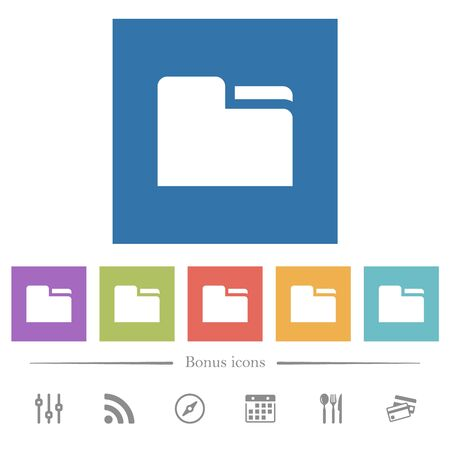 Tab folder flat white icons in square backgrounds. 6 bonus icons included.