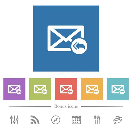 Mail reply to all recipient flat white icons in square backgrounds. 6 bonus icons included.
