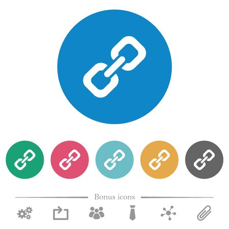 Link flat white icons on round color backgrounds. 6 bonus icons included.