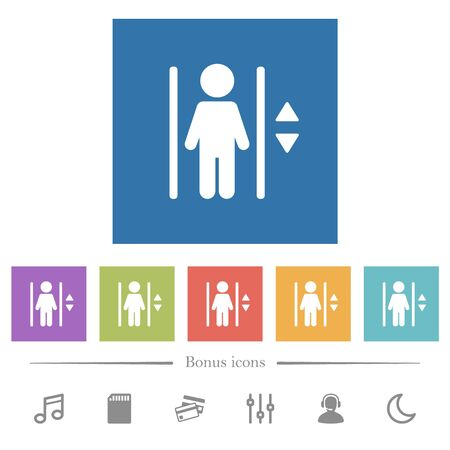Elevator flat white icons in square backgrounds. 6 bonus icons included.