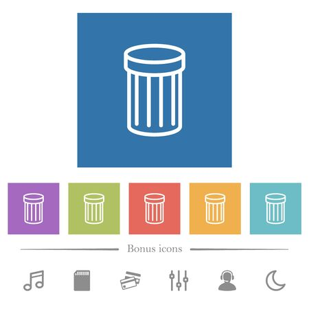 Trash flat white icons in square backgrounds. 6 bonus icons included.