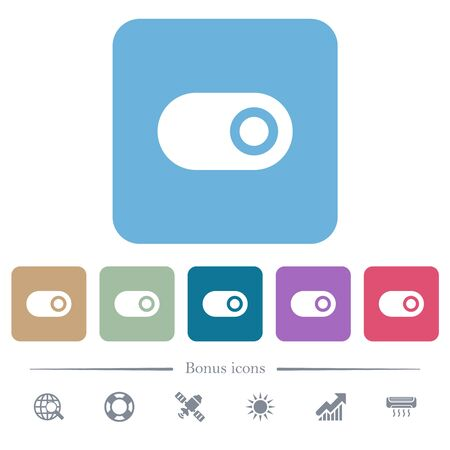 Single horizontal toggle white flat icons on color rounded square backgrounds. 6 bonus icons included