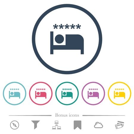 Luxury hotel flat color icons in round outlines. 6 bonus icons included.