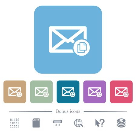 Copy mail white flat icons on color rounded square backgrounds. 6 bonus icons included Çizim