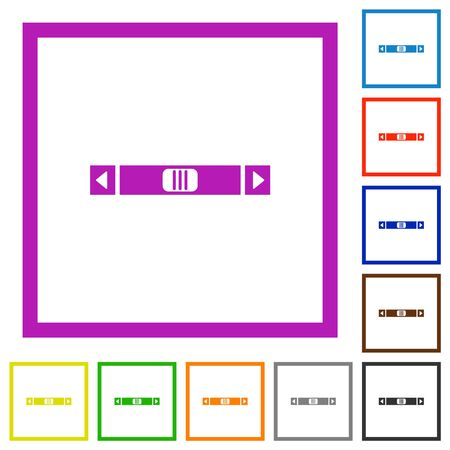 Horizontal scroll bar flat color icons in square frames on white background