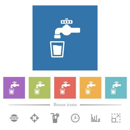 Drinking water flat white icons in square backgrounds. 6 bonus icons included. Vector Illustration