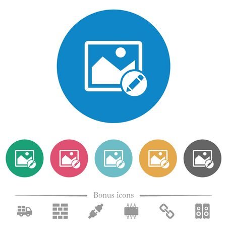 Rename image flat white icons on round color backgrounds. 6 bonus icons included.