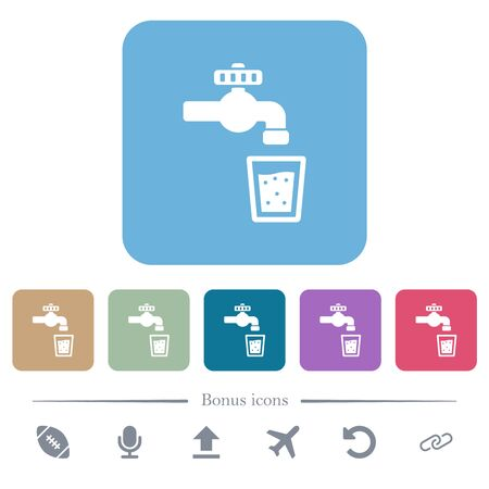 Drinking water white flat icons on color rounded square backgrounds. 6 bonus icons included