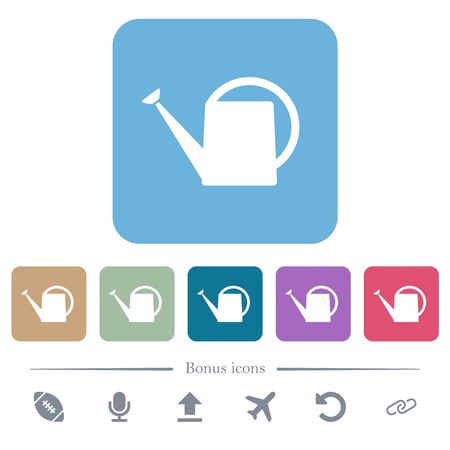 Watering can white flat icons on color rounded square backgrounds. 6 bonus icons included
