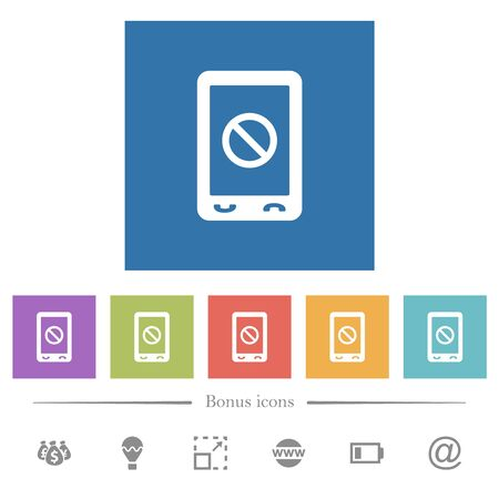 Mobile disabled flat white icons in square backgrounds. 6 bonus icons included.