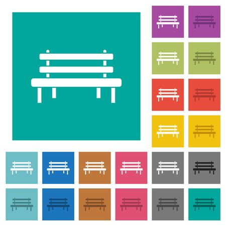 Park bench multi colored flat icons on plain square backgrounds. Included white and darker icon variations for hover or active effects. Illustration