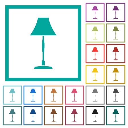 Standing lampshade flat color icons with quadrant frames on white background Banque d'images - 142813090