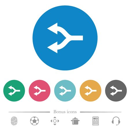 Split arrows left flat white icons on round color backgrounds. 6 bonus icons included. Illustration