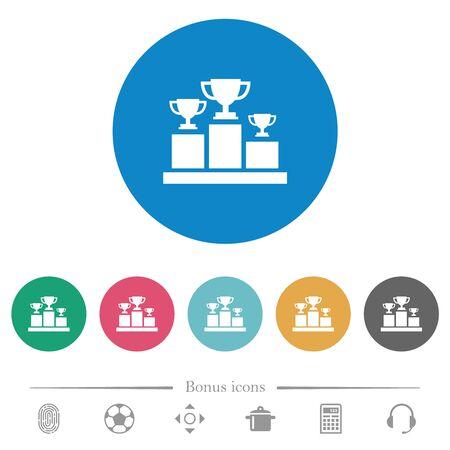 Podium des gagnants avec des coupes de trophées icônes blanches plates sur des arrière-plans de couleur ronde. 6 icônes bonus incluses.