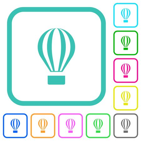 Air balloon vivid colored flat icons in curved borders on white background