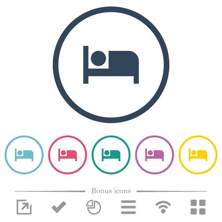 Hotel flat color icons in round outlines. 6 bonus icons included.  イラスト・ベクター素材