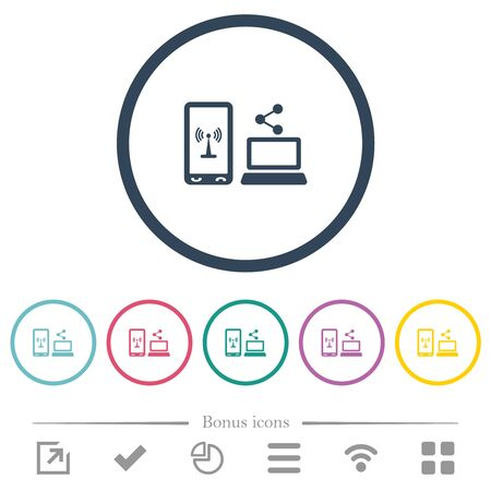 Share mobile internet flat color icons in round outlines. 6 bonus icons included.