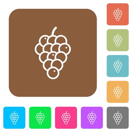 Grapes flat icons on rounded square vivid color backgrounds.