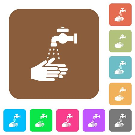 Hand washing flat icons on rounded square vivid color backgrounds. Ilustrace