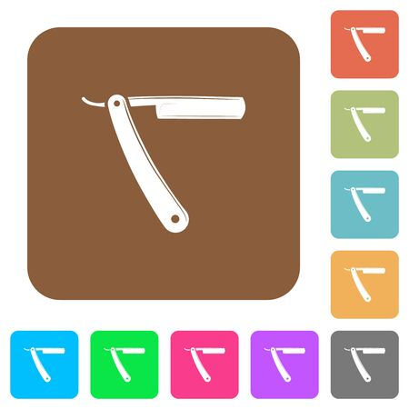 Straight razor flat icons on rounded square vivid color backgrounds. Ilustrace