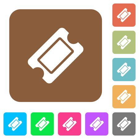 Single ticket flat icons on rounded square vivid color backgrounds. Ilustrace