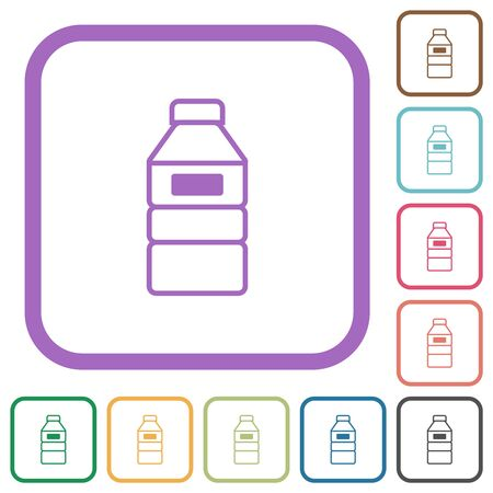 Water bottle with label simple icons in color rounded square frames on white background