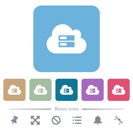 Cloud storage white flat icons on color rounded square backgrounds. 6 bonus icons included