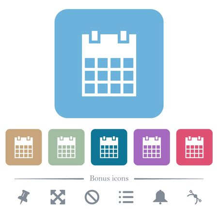 Single calendar white flat icons on color rounded square backgrounds. 6 bonus icons included  イラスト・ベクター素材