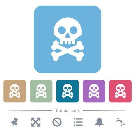 Skull with bones white flat icons on color rounded square backgrounds. 6 bonus icons included