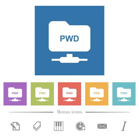 FTP print working directory flat white icons in square backgrounds. 6 bonus icons included.