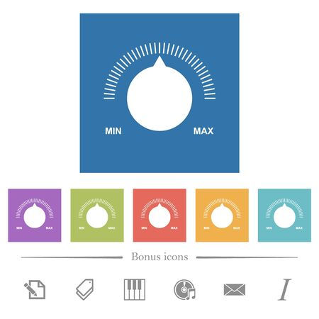 Volume control with captions flat white icons in square backgrounds. 6 bonus icons included.