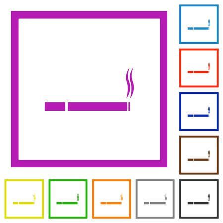 Cigarette flat color icons in square frames on white background 向量圖像