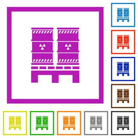 Pallet with radioactive waste flat color icons in square frames on white background