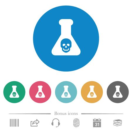 Dangerous chemical experiment flat white icons on round color backgrounds. 6 bonus icons included.